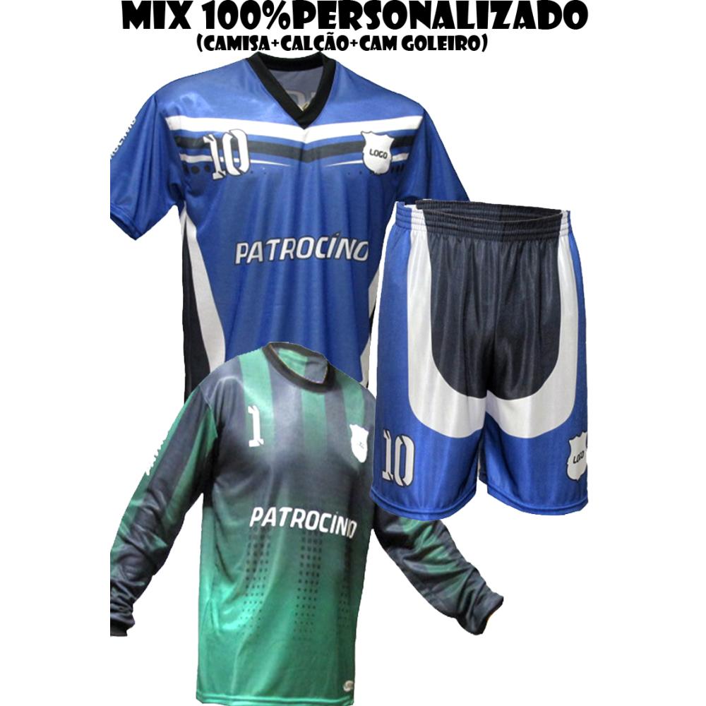 fdb60de654 Uniforme Personalizado Completo 2 Camisa Goleiro + 20 Camisas + 20 ...