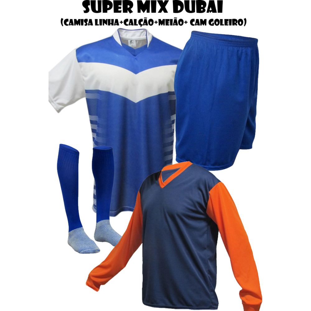 ec70715ae Fardamento Esportivo Dubai 2 Camisa de Goleiro Pop + 18 Camisas +18 Calções  +18. undefined
